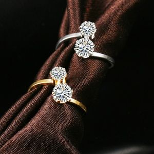 Jewelry - 18K Gold Crystal Double Stone Wrap Spiral Ring